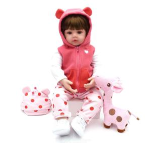NPK Pink Reborn Baby Doll 19 Inch 48cm Lifelike Baby Reborn Toddler Girl With Plush Toy