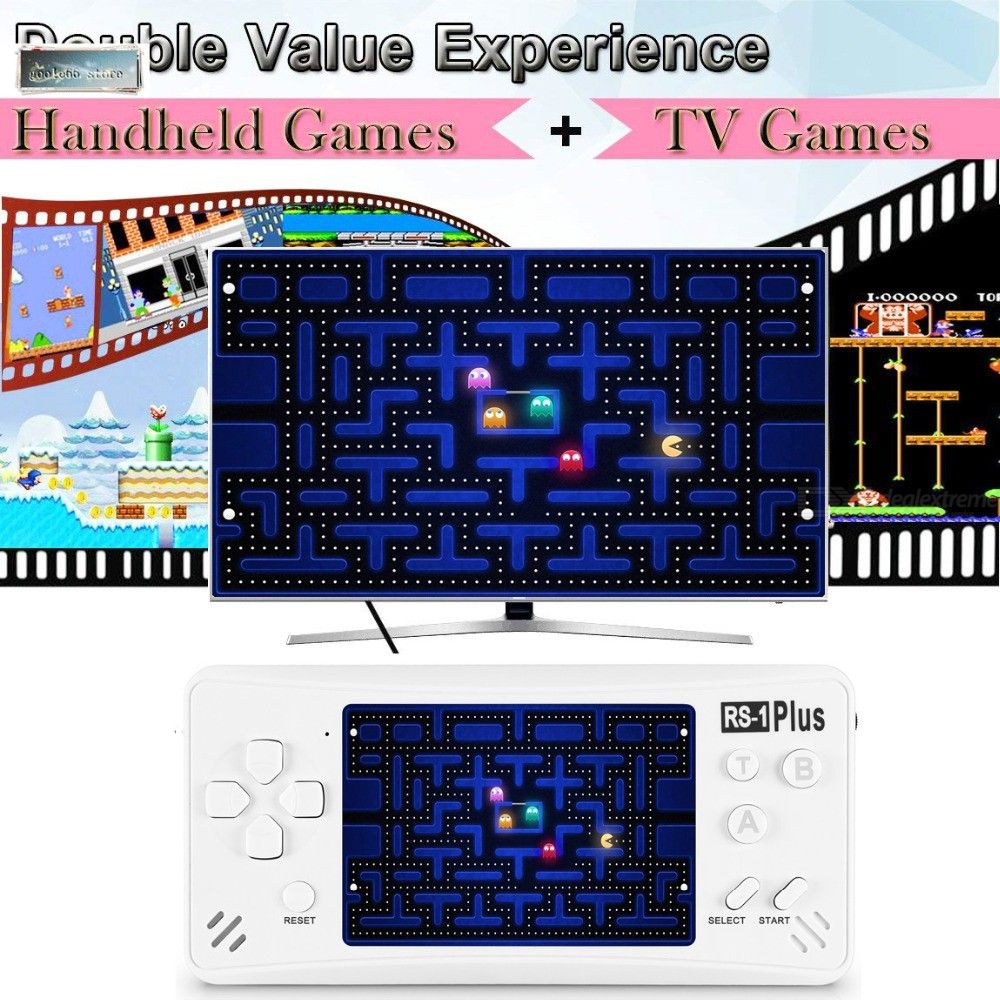 RS-1 Plus 3.5-Inch LCD Video Game Player for Kids Adults JJFUN TV Video Gaming System Built-in 218 Retro Classic Games