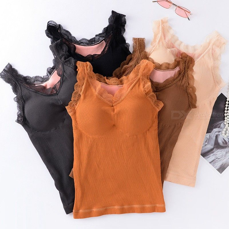 Womens Lace Thermal Vest With Chest Pad Ribbed Knit Tank Top