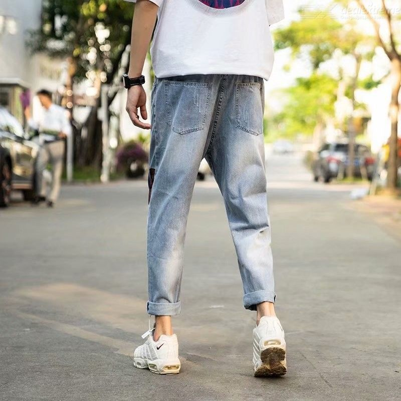 Men's Ripped Jeans Spring Autumn Fashionable Casual Mid-rise Ankle-Length Loose Denim Jeans Straight Leg Pants