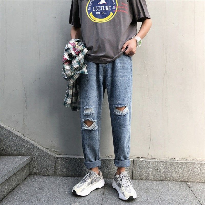 Men's Ripped Jeans Summer Fashionable Casual Mid-rise Ankle-Length Loose Denim Jeans Straight Leg Pants