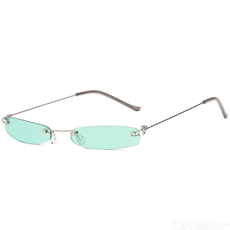 Women Small Narrow Sunglasses UV400 Protection Retro Rectangle Rimless Shades Eyewear