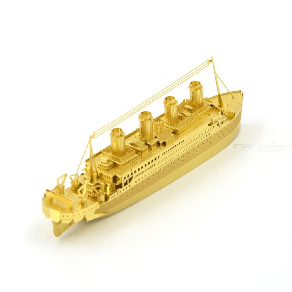 3D Metal Puzzle Assembled Toy, Golden deer / Titanic / Black Pearl / Tank Toy