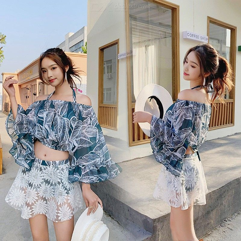 Swimsuits For Women Two Piece Bathing Suits Sweet Off-The-Shoulder Ruffled Sleeve Crop Top High Waist A-line Skirt Shorts Set