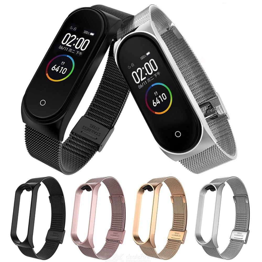 Metal Bracelet Band for Xiaomi Mi Band 3 4 Metal Strap Wristband Stainless Steel Buckle Replacement Accessories