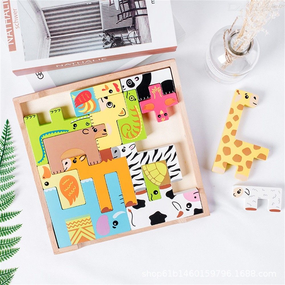 Intellectual Tetris Jigsaw Puzzles Wood Cartoon Animal Puzzle Pieces Early Education Toys For Kids