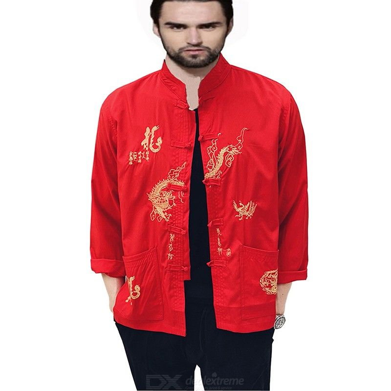 Chinese Style Button Embroidered Loose Shirt for Men