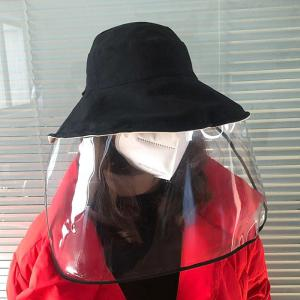 Unisex Anti-saliva Dust Proof Bucket Hat Removable PVC Face Shield Mask Protective Cap