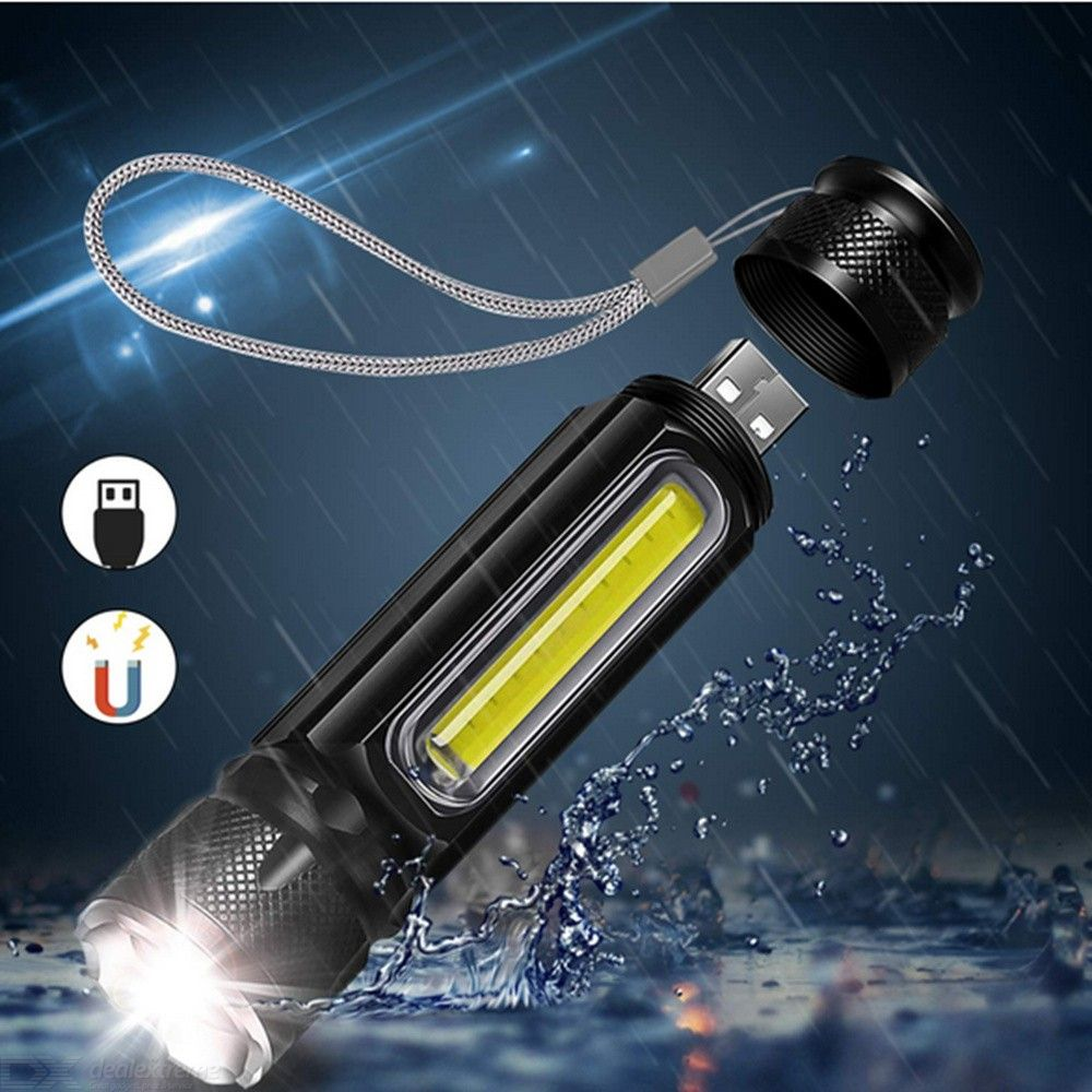 ZHISHUNJIA Waterproof Rechargeable LED Flashlight COB Work Light Torch with 4 Lighting Modes Support Zoom for Camping Cycling