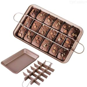 18 Cavity Brooklyn Brownie Pan With Dividers Non-Stick Brownie Baking Removable Pan Tray Carbon Steel Bakeware for Oven Baking