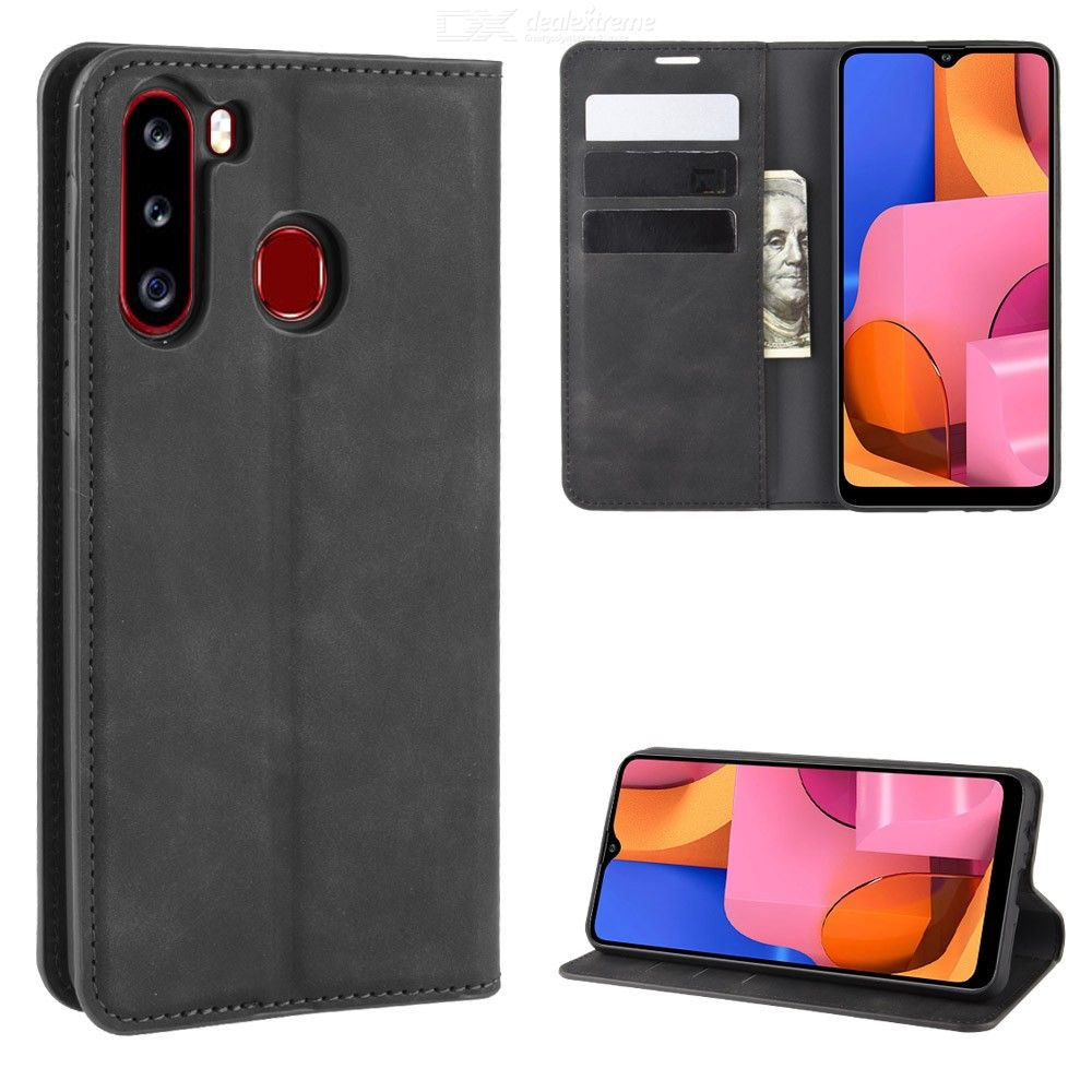 CHUMDIY Flip Case for Samsung Galaxy A21 PU Leather Wallet Phone Case Cover with Magnetic Closure Kickstand Card Cash Holder