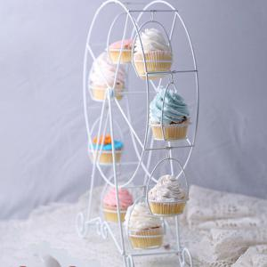 European White ferris wheel Party Rotatable Pastry Cupcake Holder 8 Cups Supplies Cake Stand in Kitchen Wedding and Home