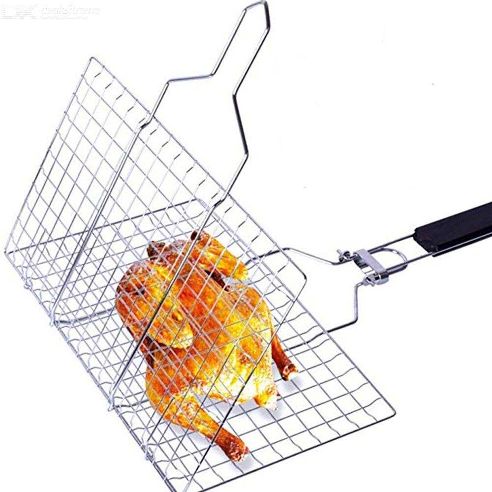 BBQ Stainless Steel Detachable Grill Net, Folding Grill Square Grilled Vegetable Basket Fish Net Clip