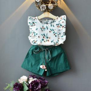 Cute Toddler Baby Girls 2-Piece Outfit Floral Sleeveless T-Shirt + Shorts Summer Two Pieces Clothes Set