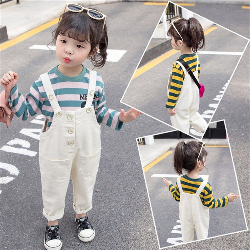 2-Piece Baby Striped T-Shirt Overalls Casual Bodysuit For Toddler Girls