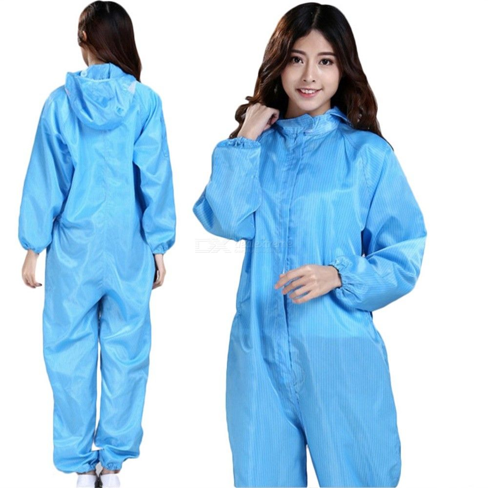 Blue Strip Unisex Anti-static Smock Coat Hooded Bacteria-free Dustproof Gown