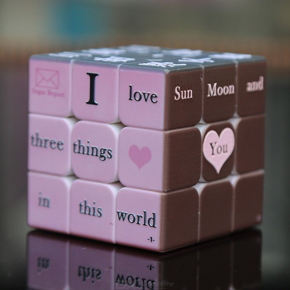 UV Printing Magic Cube Puzzle 3D Embossed Braille Fingerprint Speed Cube Third-Order Cube Valentine for Confessing Your Love