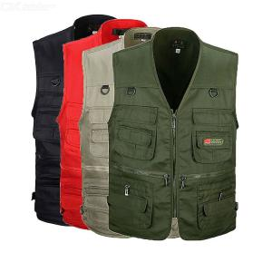 Male Casual Sleeveless V-neck Vest Multi-Pocket Photograph Waistcoat