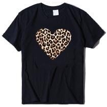 Chic Heart-shaped Print T-Shirt Casual Short Sleeve Round Neck Tee Tops For Girls Women