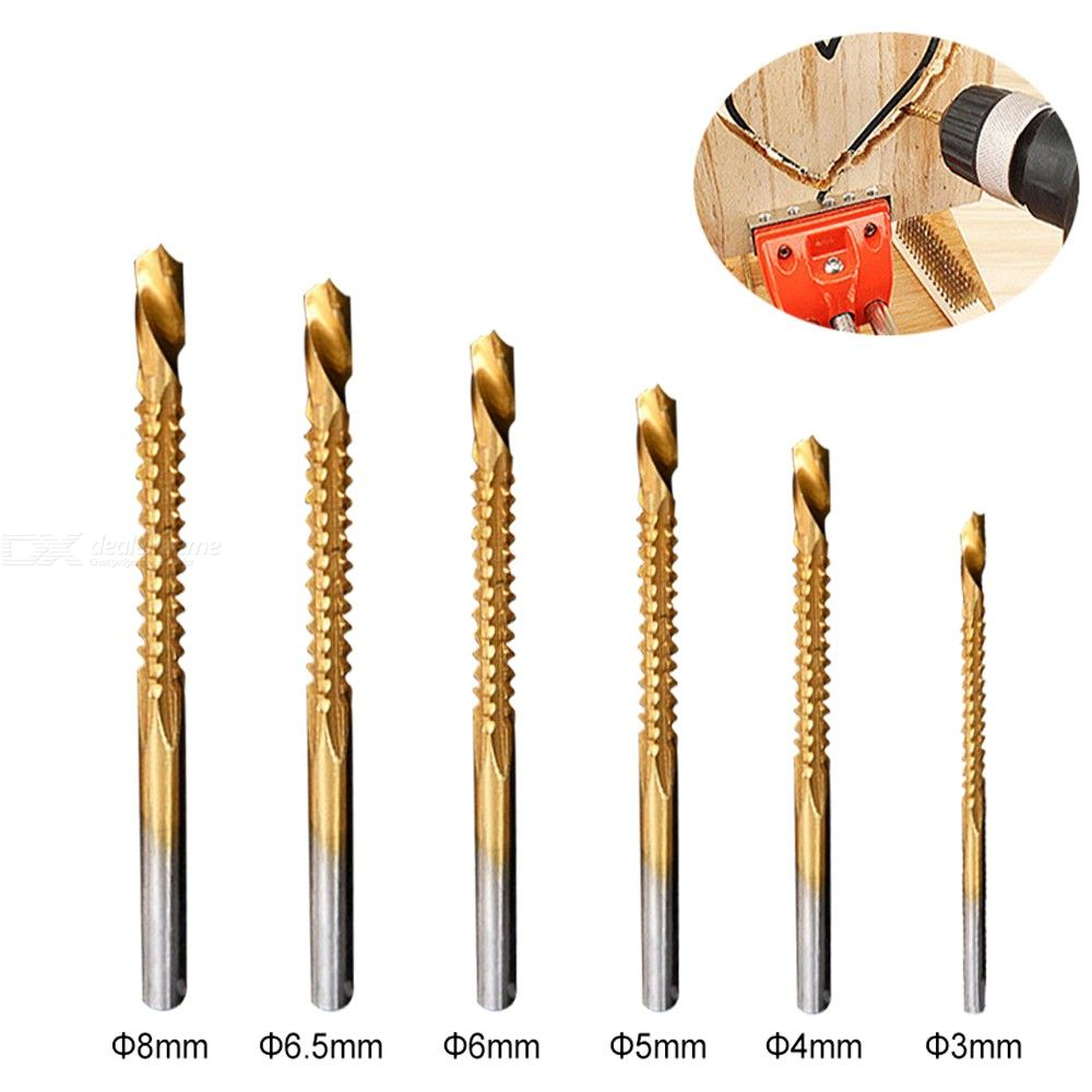 6Pcs 3 / 4 / 5 / 6 / 6.5 / 8mm Round Handle Slotting Drill Bit for Woodworking