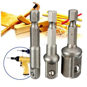3pcs 1 / 4 + 3 / 8 + 1 / 2 50mm wind batch electric sleeve connection transfer rod / hexagonal handle to square head sleeve exte