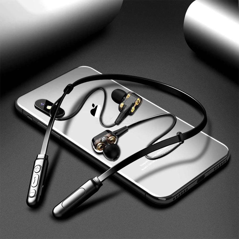 ALWUP G01 Bluetooth Earphone Wireless Headphones Four Unit Drive Double Dynamic Hybrid Deep Bass Earphone For Phone With Mic 4.1