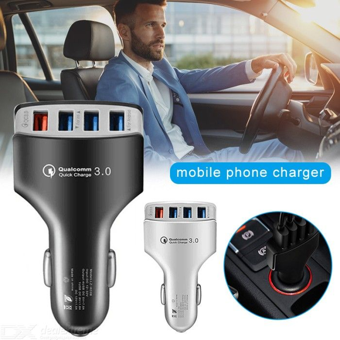 4-Port USB Fast Charger QC3.0 35W Car Charger Power Adapter for Mobile Phones Tablets