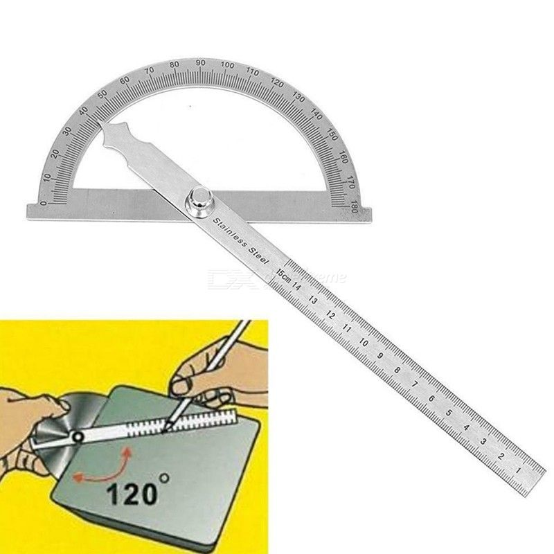 2 in 1 0-180 Degree Stainless Steel Protractor High Precision Measuring Ruler