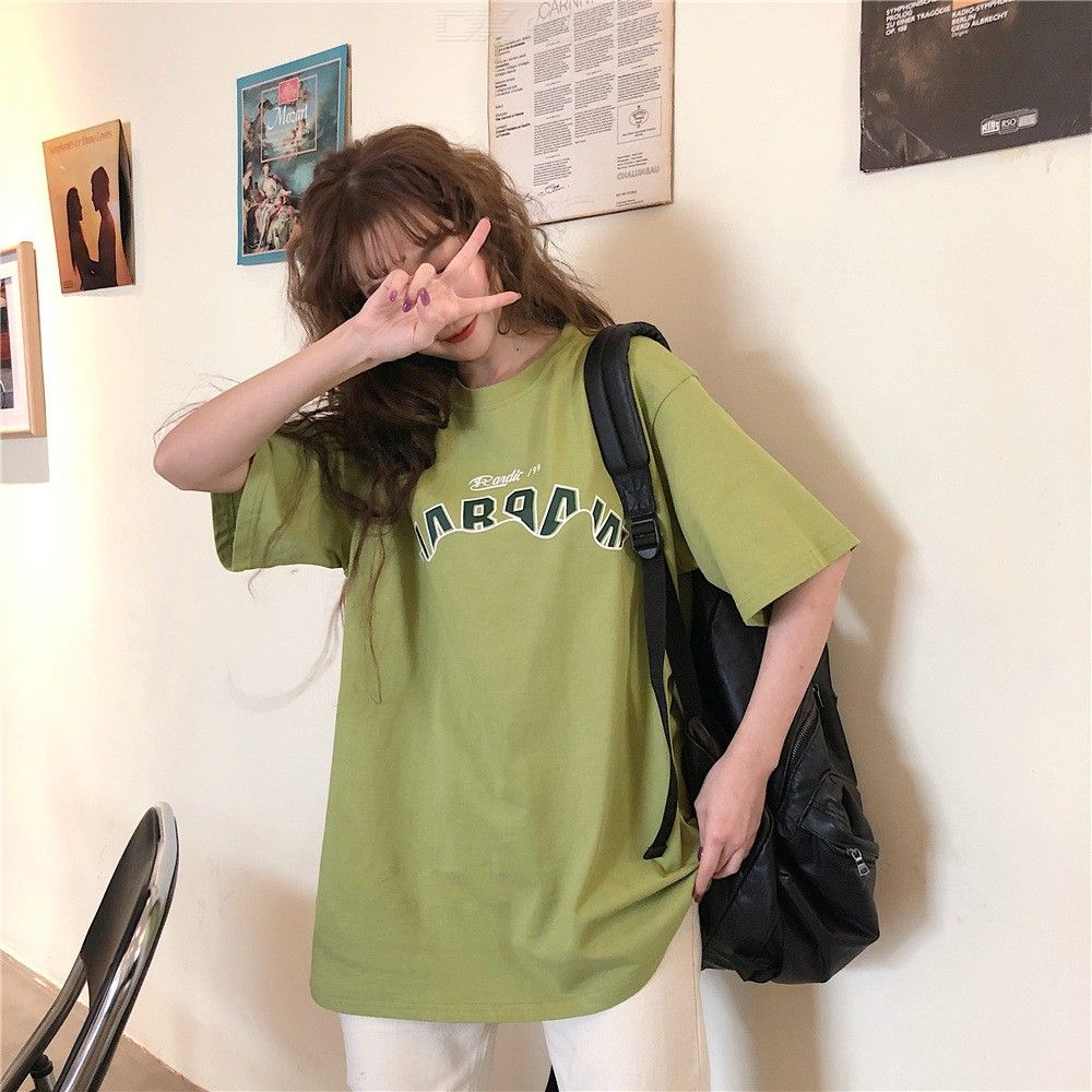 Women's T-shirt Summer Harajuku Style Fashionable Casual Loose Round Neck Short Sleeve T-shirt Printed T-shirt Tops