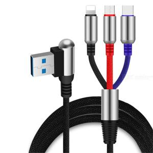 Lightning Type C Micro USB 3-in-1 Cable 2.4A Fast Charging Cable 1.2m For IPhone Samsung Galaxy Huawei LG HTC SONY Nokia