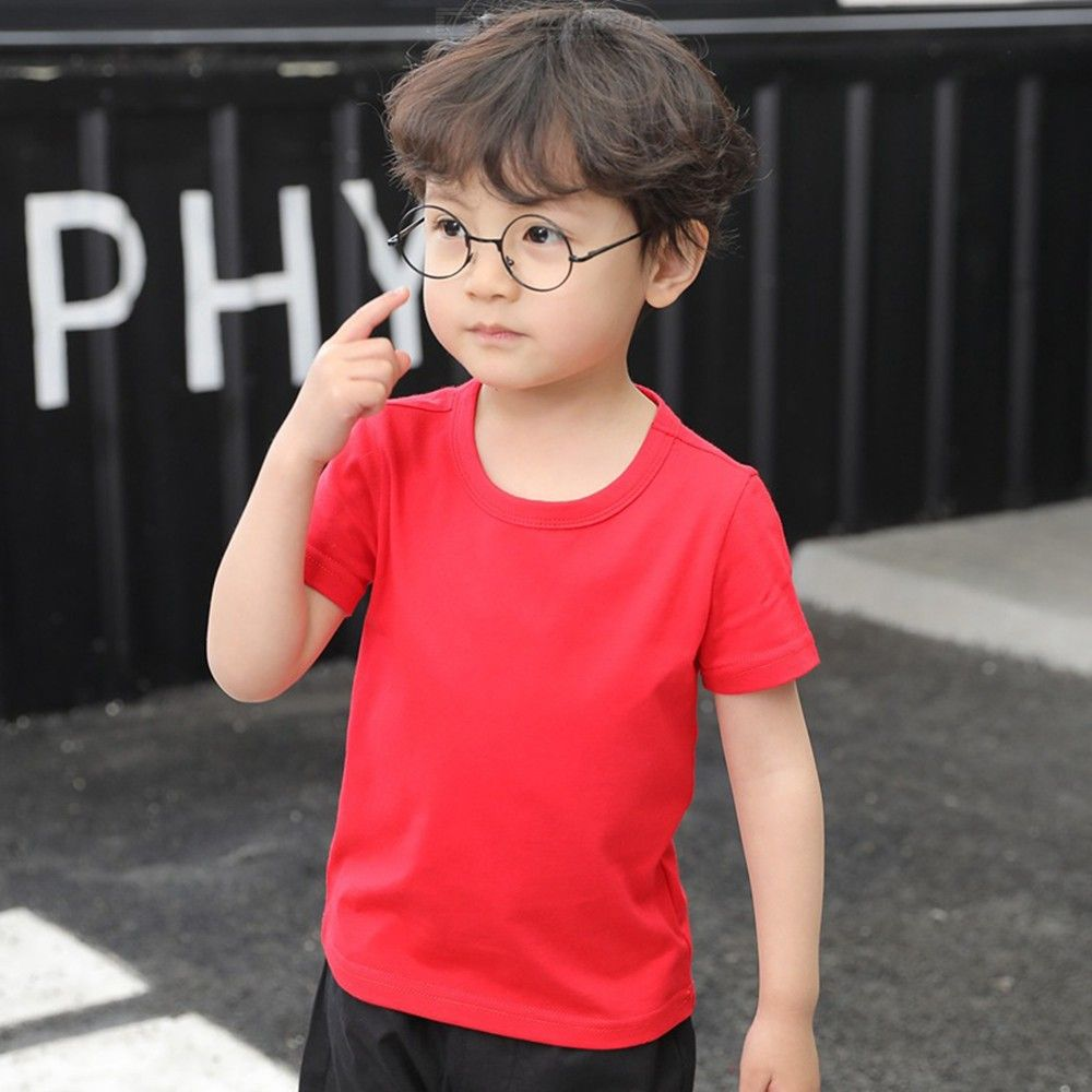 Summer Solid Kids T-Shirt Round Neck Short Sleeve T-Shirt Top Tee For Children Girls Boys 3-9 Years Old