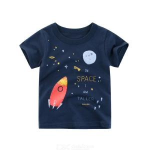 Summer Kids Short-sleeve Cotton T-shirt Cartoon Airship Pattern Childrens Clothing