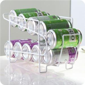 Double-layer Cans Storage Rack Kitchen Refrigerator Fresh Drink Beer Cans Holder