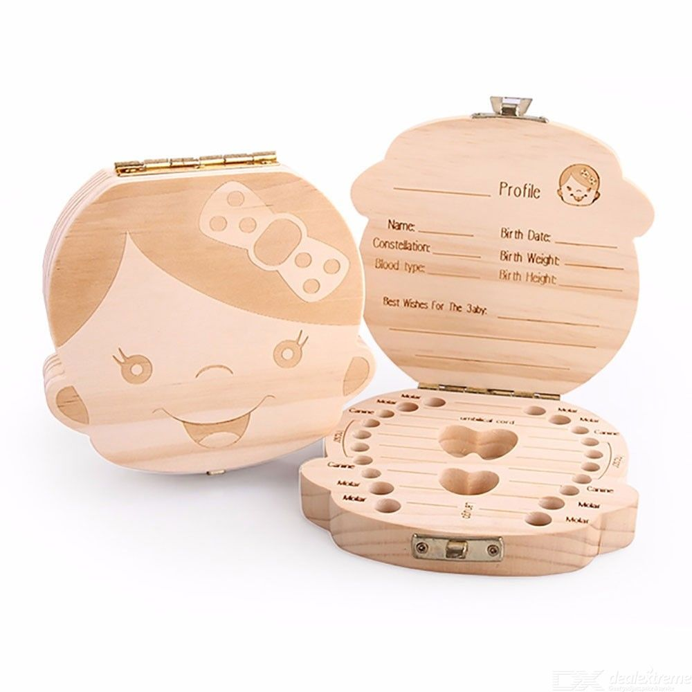 Baby Teeth Keepsake Fairy Box Holder Wooden First Lost Deciduous Tooth Collection Organizer Storage For Kids Memory