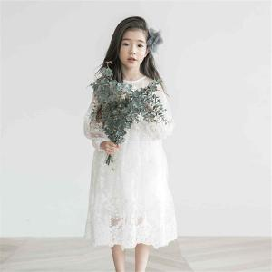 Girls Lace O-neck Dress Solid Color Embroidery Flower Childrens Clothing