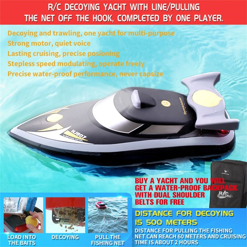 HJ807 Fishing Bait Boat Remote Control Fishing Speedboat For Casting Fish Lures Pulling Up Fishnet