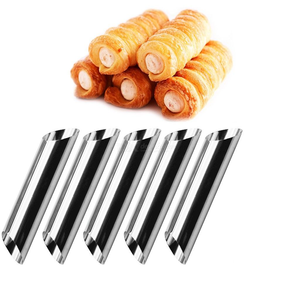 5pcs Cannoli Forms Cake Horn Mold Stainless Steel Cannoli Tubes shells Cream Horn Mould Pastry Baking Mold