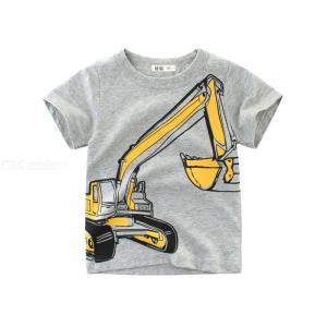 Kids Boys T-shirt Excavator Print Short Sleeve Cotton Tops For 2-7Y Toddler Summer Cute Clothing