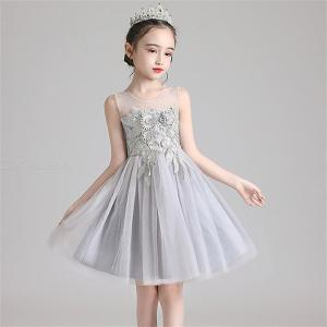 Girls Mesh Sleeveless Dress Knee-length Floral Pattern Childrens Clothing For Host Performance