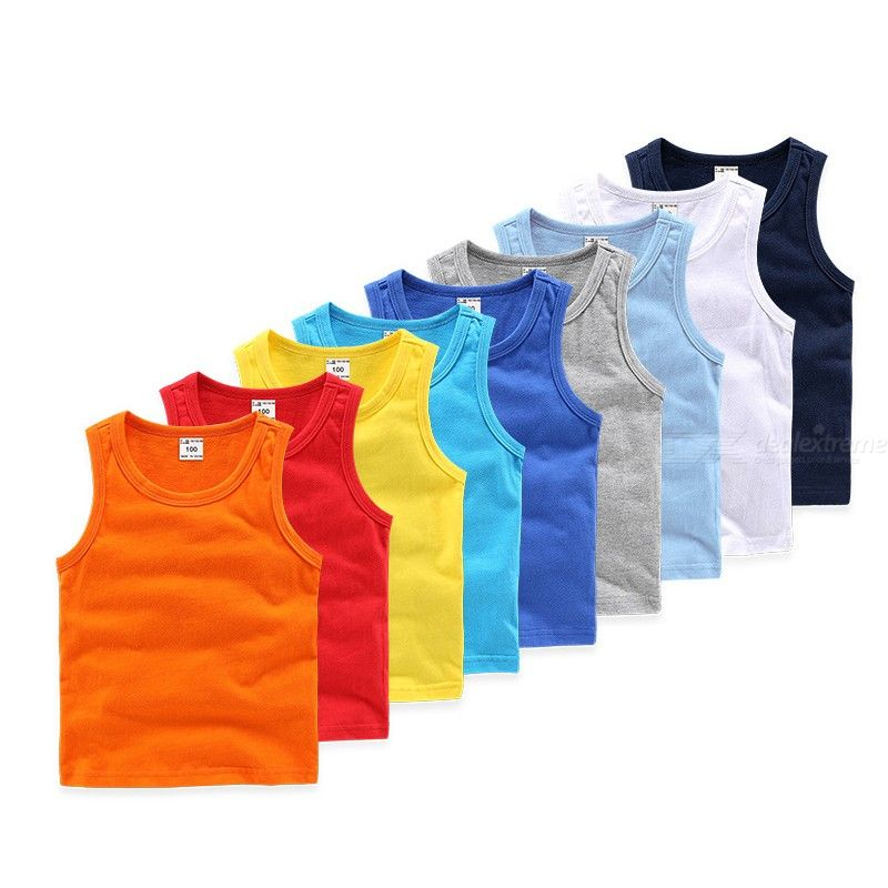 Summer Solid Kids Vest Round Neck Sleeveless T-Shirt Tank Top For Children Girls Boys 2-6 Years Old