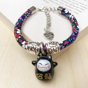 Floral Pattern Cat Collar With Cartoon Bell Pet Neck Jewelry