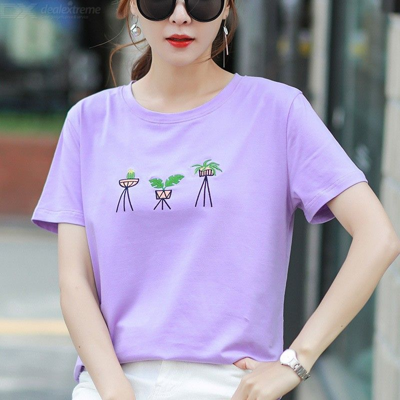 Women's Cotton T-shirt Summer Fashionable Casual Loose Round Neck Short Sleeve Printed T-shirt Tops