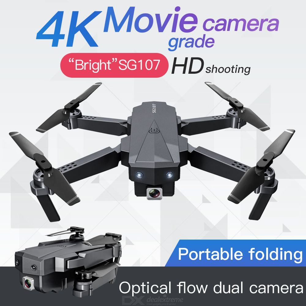 SG107 Drone With Camera WiFi 4K 1080P Dual Cam Quadcopter With Headless Mode Gesture Control Follow Me Mode