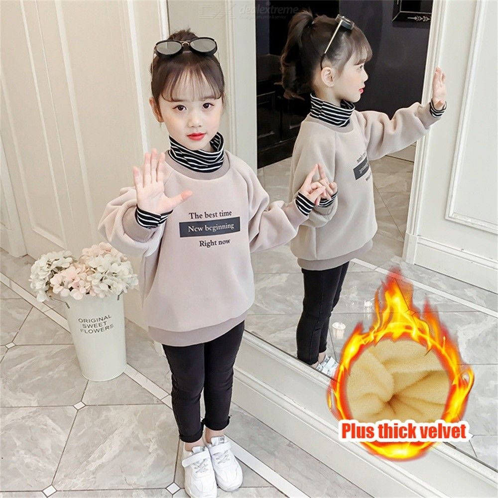 Fashion Fake Two-piece Kids Sweatshirt Casual Thickened Childrens Clothing