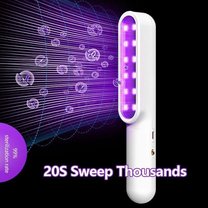 USAMS Handheld UV Disinfection Lamp USB Rechargeable Cordless Portable UV Germicidal Lamp For Hotel Home Travel Car Baby Room