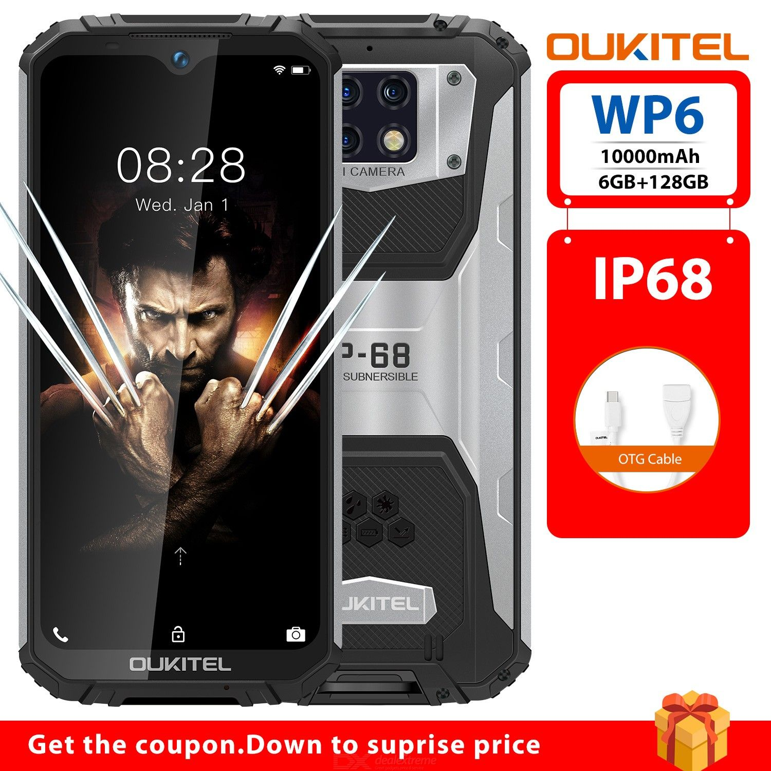Oukitel WP6 6.3 Inch MT6771T Octa-Core IP68 Waterproof Smartphone with 6GB RAM 128GB ROM - EU Plug