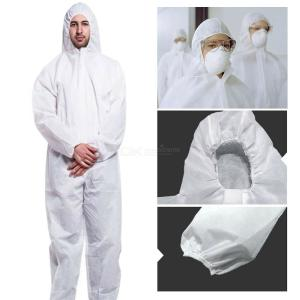 Disposable Protective Coverall Safety Clothing With Elastic Cuffs And Hood For Full Body Protection