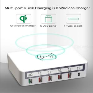 Wireless Charging + QC3.0 5 USB + 1 Type-C Smart Display Wall Charger for Mobile Phones Tablets