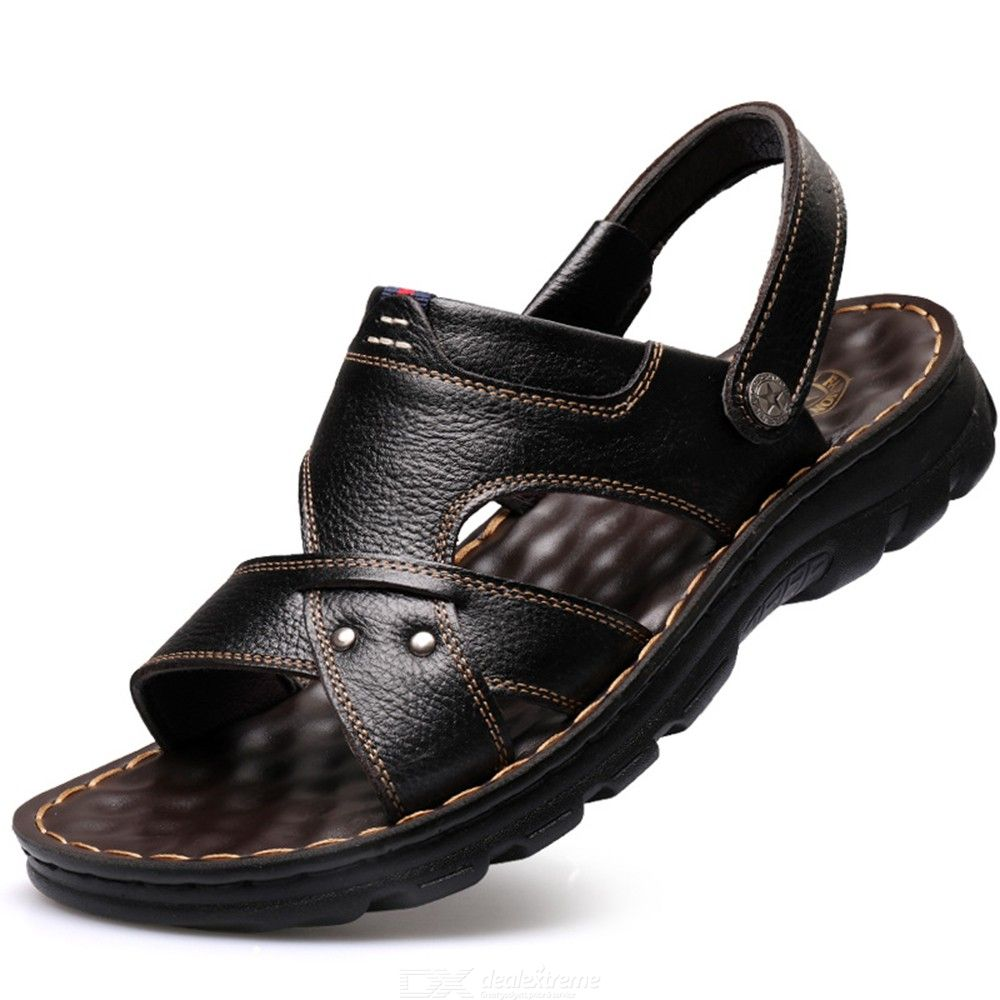 Leather Sandals Men Summer Flats Adjustable Slipper Breathable Beach Shoes