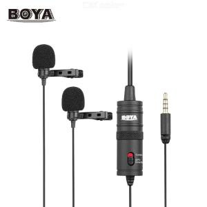 BOYA BY-M1DM Dual Omni-directional Lavalier Microphone Lapel Clip-on Condenser Microphone for Canon Nikon Sony DSLR Camera Camco